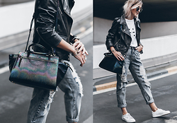 Mikuta - Henri Bendel Bag, Edited Jacket, Fashion Pills Jeans, Esprit Shoes, Sos Studio Top - PETROL & DENIM