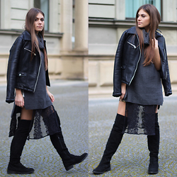 Catherine - Zara Biker Jacket, Missguided Sweater, Missguided Lace Top, Zalando Overknees - How To: Cozy Up In Lace