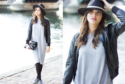 Nesrine Bendriss - Boohoo Hat, Asos Dress, Casio Watch, Nike Air Max, Massimo Dutti Clutch, Bomber - Perfect Winter Dress