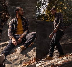 Jorge Gallegos - H&M Plaid Shirt, H&M Denim Jeans, H&M Oak Buff Sweatshirt, H&M Mustard High Tops - Move Into Fall