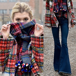 Dani Mikaela McGowan - J. Crew Plaid Scarf, J. Crew Plaid Shirt, Free People Flared Jeans, Free People Plaid Coat - Happy Holidays