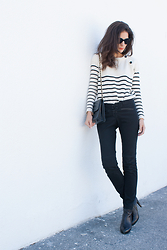 Initials LA - Topshop Striped Sweater, Chanel Bag, Maje Pants - Another one