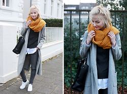 Joana ♡ - Sheinside Coat, Ernstings Family Scarf, Kiomi Bag, Review Jeans, Adidas Shoes, S.Oliver Shirt - On the run