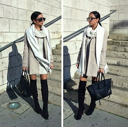 Indyra Divine - Tally Weijl Turtleneck Knitted Dress, Choies Over The Knee Boots - Fleurie - Hurts Like Hell