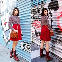 B @Style Voyage - Topshop Printed Dress, Zara Bordo Skirt, Diane Von Furstenberg Fringe Bucket Bag, Dr. Martens Lace Up Boots - Bordo to Burgundy