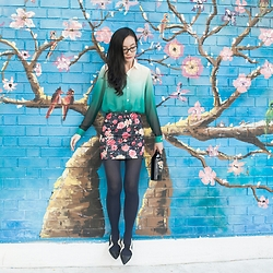 Ren Rong - Romwe Ombre Blouse, Forever 21 Floral Skirt, Something Borrowed Cutout Oxfords - Milk + baileys forever