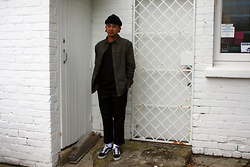 Dan Pantoja - American Apparel Black Cuffed Beanie, Dickies Black Work Pants, Vans Old Skool - GOING THROUGH A PHASE Δ