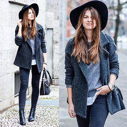 Jacky - Subdued Fedora Hat, Subdued Jacket, Gina Tricot Jeans, Joop! Bag, New Look Shoes, Mango Sweater - Snake Effect
