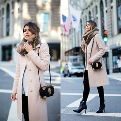 Pam Hetlinger - Reiss Nude Coat, Reiss Black Booties - The City Life