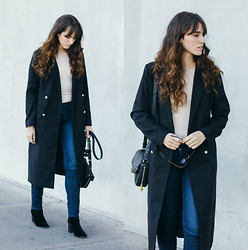 Tonya S. - Missguided Tailored Longline Coat, Missguided Nude Bodysuit, Ag Jeans The Prima Contour, Vintag Velvet Boots - Statement Coat