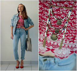Tatiana - H&M Cotton Top, Urban Outfitters Necklace, Vince Camuto Leather Bag, American Apparel Old School Denim Jeans, American Apparel Denim Jacket - Denim chic