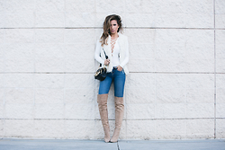 Jessi Malay - Lucyparis Faux Fur Vest, Nastygal Mariana Ribbed Lace Up Bodysuit, L'Agence Chantal Vintage Skinny Jeans, Chloe Hudson Charm Bag, Tony Bianco Over The Knee Suede Boots, Haati Chai Earcuff - Cuddle Weather