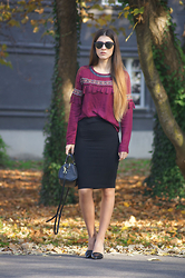 Tamy's Fashion World - Bershka Shirt, Zara Skirt, Stradivarius Shoes, Stradivarius Bag - Pom pom