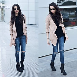 Wafaa Hassan - Cndirect Camel Jacket, H&M Boots - Camel and Black