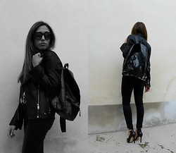 Marika - H&M Backpack, Zara Heels, Replay Jeans, Allsaints Jacket - Leather