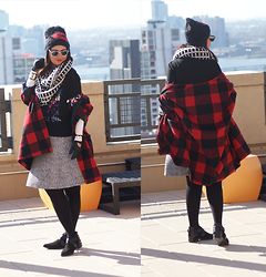 Jaclynn Brennan - H&M Sequin Blouse, Asos Oversize Plaid Coat, Calvin Klein Animal Print Skirt, H&M Flat Pointy Toe Boots, Juicy Couture Kiss Beanie - Texture Trio