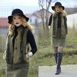 Lorena Serban - H&M Hat, H&M Turtle Neck, Vest, Zara Skirt, Zara Boots, Dolce & Gabbana Watch, Mohito Bracelet, Fossil Bracelet - You're cold , just like the weather