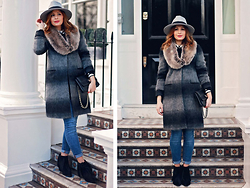 Elena Sandor - Clements Ribeiro Coat, River Island Jeans, Accessorize Collar, Arezzo Boots, Missguided Hat, Russell And Bromley Bag - The fur collar trend