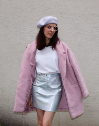 Maeva - American Apparel Holographic Skirt, Primark Coat, L'usine à Lunettes By Polette Glasses - Be Némo Pink