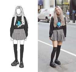 Yonish - Mixxmix Earth Pullover, Pleated Plaid Skirt, Target Knee High Socks, Yesstyle Platform Loafers - Earth