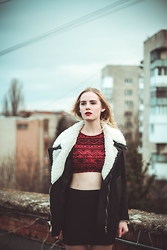 Anya Lugina - New Look Red Crop Top, H&M Skirt, Reserved Black Jacket - CROP TOP