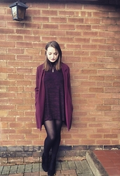 Lucy Amelia - Marks And Spencers Marl Dress, Online Avenue Tassel Boots, New Look Blazer - Maroon