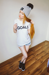 How to be a Cute B*tch - Forever 21 White T Shirt, Dresslink Gray Beanie, Mxtn Denim Shorts, Pool Black Spiked Sneakers - Swag