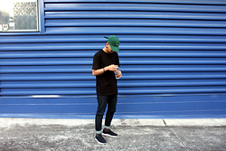 Dan Pantoja - Rodd And Gunn Army Green Country Cap, As Colour Pocket Classic Tee, I Love Ugly Selvedge Jeans, Nike Black Mayfly Woven - GOSH GOSHA Δ