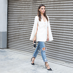 Tienlyn . - Cape Top, One Teaspoon Ripped Jeans, Wrap Heels - FOREVER MOMENTS