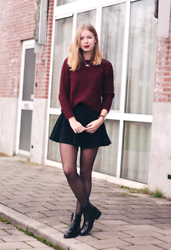 Janne B - Invito Red Chelsea Boots, Daniel Wellington Classic St Mawes, Saint Laurent The Mats Lipstick, Oasap Red Cable Knit, Choies Black Skater Skirt, Swarovski Infinity Necklace - Red Knit & Black Skirt