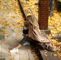 Silvia P. - Zara Coat, Guess Sneakers, Liu Jo Pants, Liu Jo Hat, Louis Vuitton Purse - Fall