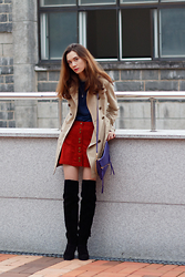 Arielle - Burberry Trench, Zara Suede Skirt, 3.3 Field Trip Navy Turtleneck, Asos Over The Knee Boots - Modern Retro