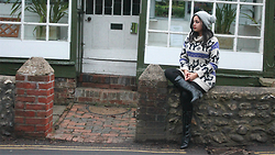 Rena Freefall - Schuh Lace Boots, Primark Black Leggings, Atmosphere Cat Jumper Dress, Double Bobble Hat - Kitty in The Garden