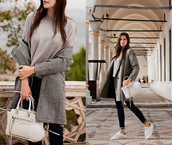 Viktoriya Sener - Sheinside Sweater, Lookbook Store Trench Coat, Rebecca Minkoff Bag, Asos Pom Pom, Sheinside Jeans, Adidas Trainers - IN LOVE WITH GREY