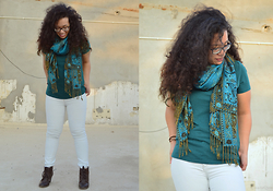 Nada Qamber - H&M Emerald Green, Bershka Light Blue Jeans, Forever 21 Dark Brown Boots - Emerald Green