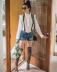 Claudia Salinas - Shutz Caged Over The Knee Boots, H&M Victorian Shirt, Dior Homme Sunnies, Chanel Boy Bag, J Brand Daisy Dukes - These boots are made for...