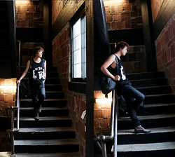 Nathan Barreras - Coach Backpack, Zara Slim Jeans, Boy London Sleeveless Top - BOY AT PAPER  FACTORY