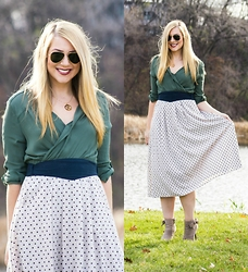 Rachel @Rachel's Lookbook - Anthropologie Dress, Vintage Skirt, Ray Ban Sunglasses, Just Fab Booties - My Favorite Skirt