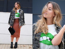 Claudia Villanueva - Zara Jacket, Dressin T Shirt, Newdress Skirt, Stradivarius Clutch, Missguided Shoes - Kiss my Lips