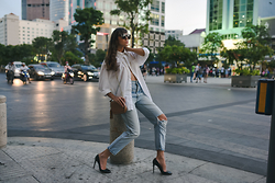 Ksenia Radi - Aldo Sunglasses, Closed Jeans, Prada Stilettos - Vietnamese Ethics: Unbuttoned Shirt