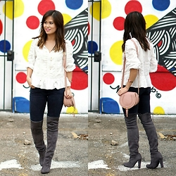 Quynh Tran - Forever 21 Eyelet Top, Zara Distressed Jeggings, Chloe Mini Marcie, Steve Madden Gorgeous Over The Knee Boots - Polka