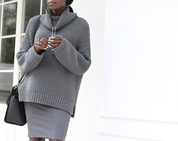 Rachel O. - Zara Chunky Knit, H&M Bodycon Skirt - All Grey