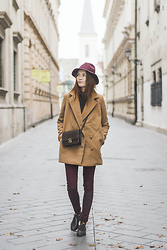 Dominika Cupkova - Sheinside Hat, Bag, Sheinside Camel Coat - Yesterday I wore autumn