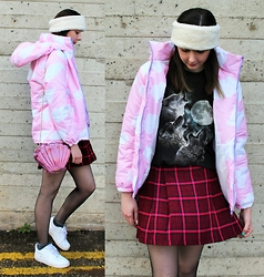 Nichola Rose - Romwe Cloud Coat, Vintage Shirt - PINK CLOUDS
