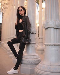 Claudia Salinas - Illesteva Sunnies, Acne Studios Leather Jacket, H&M Crop Top, Chanel Boy Bag, Doctor Martens Creepers, Zara Ripped Jeans - All of the lights