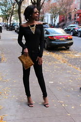 Mona Diallo - Zahul Off The Shoulder, Necessary Clothing Low Waist Black Jeans, Asos Open Toe Heels, Tj Maxx Leopard Print Clutch - Back In Black!