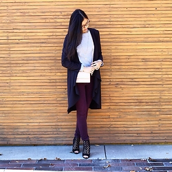 Rose . - Forever 21 Duster, Forever 21 Necklace, H&M Sweater, Zara Bag, Dl1961 Jeans, Le Chateau Heels - Favourites