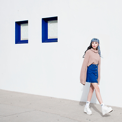 Essy Noir - 2020ave Bell Sleeve Turtleneck, Romwe Blue Single Breasted Denim Skirt, Dimepiece La Bad Girl Socks, Jeffrey Campbell Shoes White Maynard Platforms - Sweater Weather