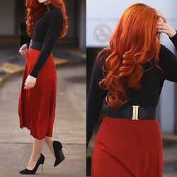 Tia T. - Zara Skirt, Primark Shoes, H&M Belt - Brick Red Midi Skirt and Turtleneck