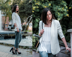 Irina Fedorova - H&M White Blazer, Calliope White Top, H&M Boyfriend Jeans, Bershka Healed Sandals, Zara Box Bag, Michael Kors Silver Watch - Street chic